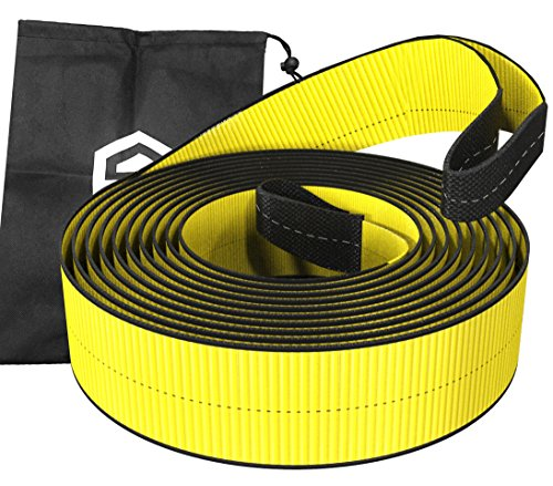 """3"""" x 30' 30,000 lbs (15 Tons) Tow Recovery Strap For Off-Road Recovery & Towing - Premium Heavy Duty, Polyester, Weather Resistant, Reinforced Looped Ends 30K LBS - CE, TUV Certified + Carrying Bag"""