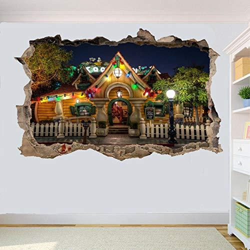 Pegatinas de pared con vista 3D pegatinas de pared de parque temático de California pegatinas de arte 3D Mural decoración de oficina de habitación-50 CM x 70 CM