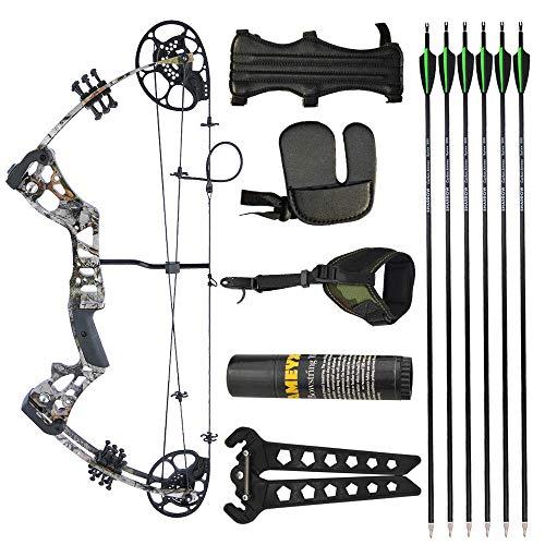Ensemble d'arcs et de flèches à poulies de tir à l'arc Ensemble de kit d'arc à poulies pour débutants 15-40 lb Poids de tirage 18-29 `` Longueur de tirage réglable pour chasse à la cible (Camo)