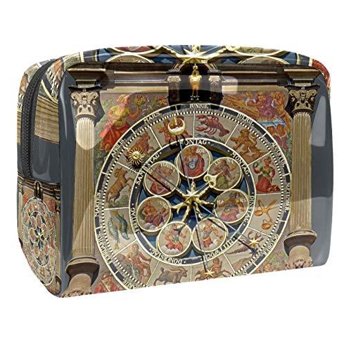 Bolsa de maquillaje para reloj de arquitectura vintage, organizador de cosméticos, multifunción, bolsa de aseo impermeable con cremallera para mujer