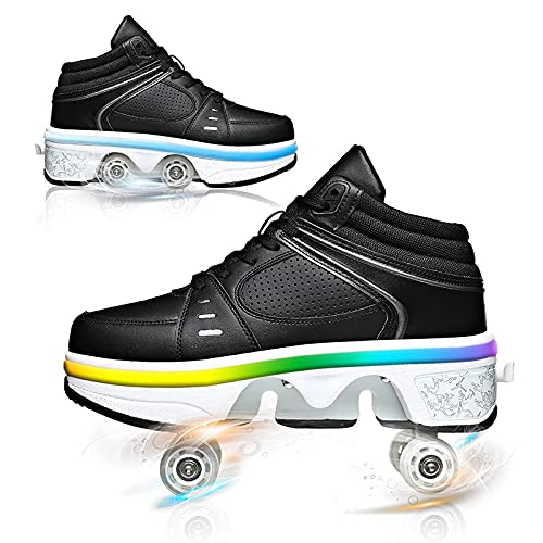 ZHYX Zapatos con Ruedas Luces LED, 7 Colores Deformación Patines De Ruedas Multifunción Ajustable Zapatos De Skate,33