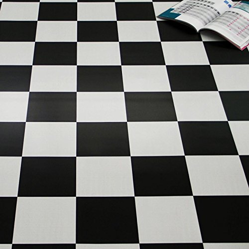 PVC Bodenbelag Schachbrett Schwarz Weiß 2,00 mm (Breite: 200 cm x Länge: 300 cm)