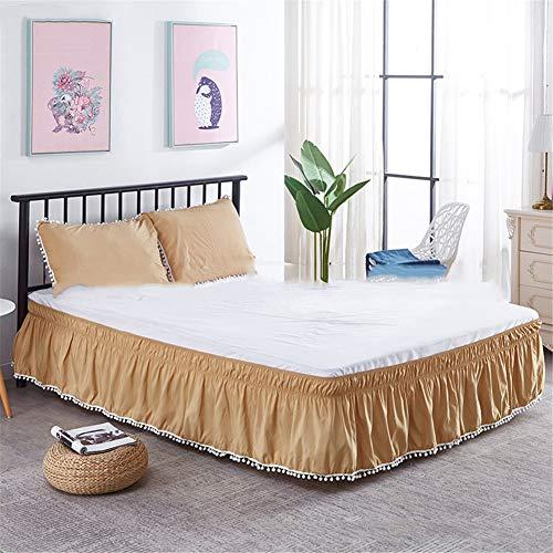 CQZM Haarball Elastische Bettvolant Babybett Gesteppter Einstellbar Bed Skirt Queen Wrap Around Style rutschfest Bettrock Tagesdecke Für Schlafzimmer Hotel EtcC-180x200cm(71x79inch)