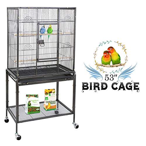 ZENY Bird Cage with Stand Wrought Iron Construction 53-Inch Pet Bird Cage Play