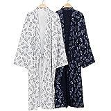 Men Japanese Kimono Bathrobe Yukata Pajamas Unisex Cotton Soft Sleepwear Robe Gown Nightwear (Navy Blue, Large, l)