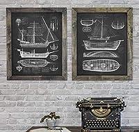 Chenjiaxu ヴィンテージ抽象船青写真キャンバス絵画ポスタープリント男の子キッズルーム壁アート写真リビングルームの家の装飾-40X50Cmx2フレームなし