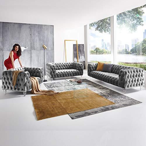 Designer Couchgarnitur 3-2-1-Sitzer Chesterfield Sofa Samt-Stoff Acryl-Füße Kristall Glas-Optik Knopfheftung Deluxe Luxus Möbel (Grau)