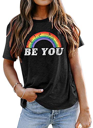 Women T Shirt Be You Gay Pride Shirt LGBT Rainbow Tees Funny Letter Print Graphic Tee Summer Short Sleeve Tops (Grey, M)