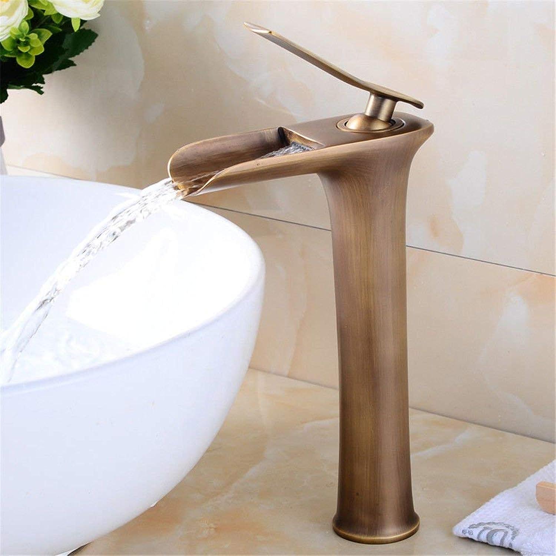 WMING Home Waschbecken Mischbatterie Badezimmer Küchenbecken Wasserhahn Dicht Wasserdicht Antik Becken Wasserfall Einlochmontage (Farbe   D)