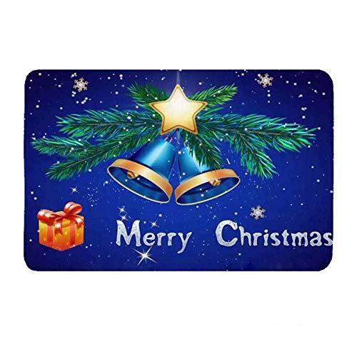 Deurmat tapijt, 3D-bedrukte nachthemel groene kerstkrans bel antislip soft ingang tapijt mat, deurmat welkom slaapkamer hal rechthoek deurmat voor Kerstmis Home Wo 40×60cm