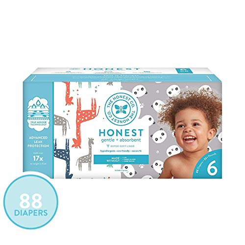 The Honest Company Super Club Box Diapers - Size 6 - Pandas & Safari Print | TrueAbsorb Technology | Plant-Derived Materials | Hypoallergenic | 88 Count