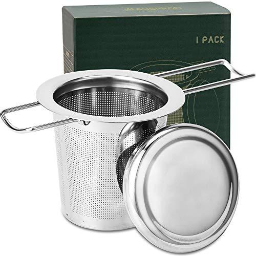 HAUSPROFI Infusore da tè e Tisane, Filtro da tè in Acciaio Inossidabile 304 con Coperchio e Manico Pieghevole, Filtro da tè per teiere e Tazze per infusione Foglie sfuse