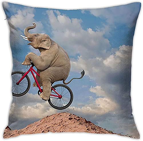 Mountain Elephant Riding Bike Funny Pillow Case Home Decorative Throw Pillow Cover Invisible Zipper Cushion Pillowcases Square Sofa Bed Decor 18 * 18 Inch