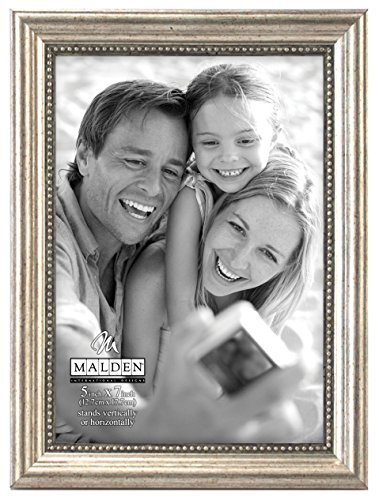 Malden International Designs Classic Wood Picture Frame, 5x7, Silver