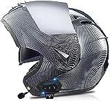 Motorbike Helmet Casco modular Bluetooth para motocicleta, casco abatible para motocicleta con visor dual antivaho Micrófono de altavoz dual incorporado Material ABS aprobado por ECE Forro extraíble