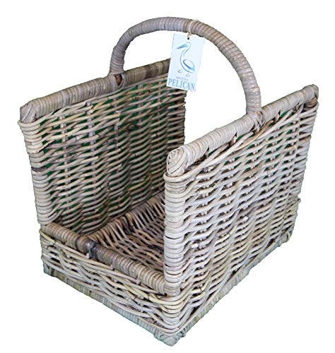 Rattan Log Kindling Baskets. In grey and natural wicker. Natural Storage Solution. Open storage box for wood, fireplaces. Home & Hearth (40 cm, Grey)