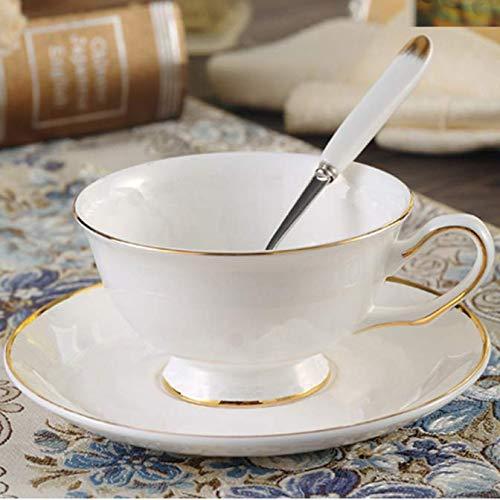 FEJK Goldrand Weiße Porzellankaffeetasse Mit Untertasse, Porzellan Elegante Kaffeetasse Nachmittagsteetasse Becher Schwarze Teetassen 150ml