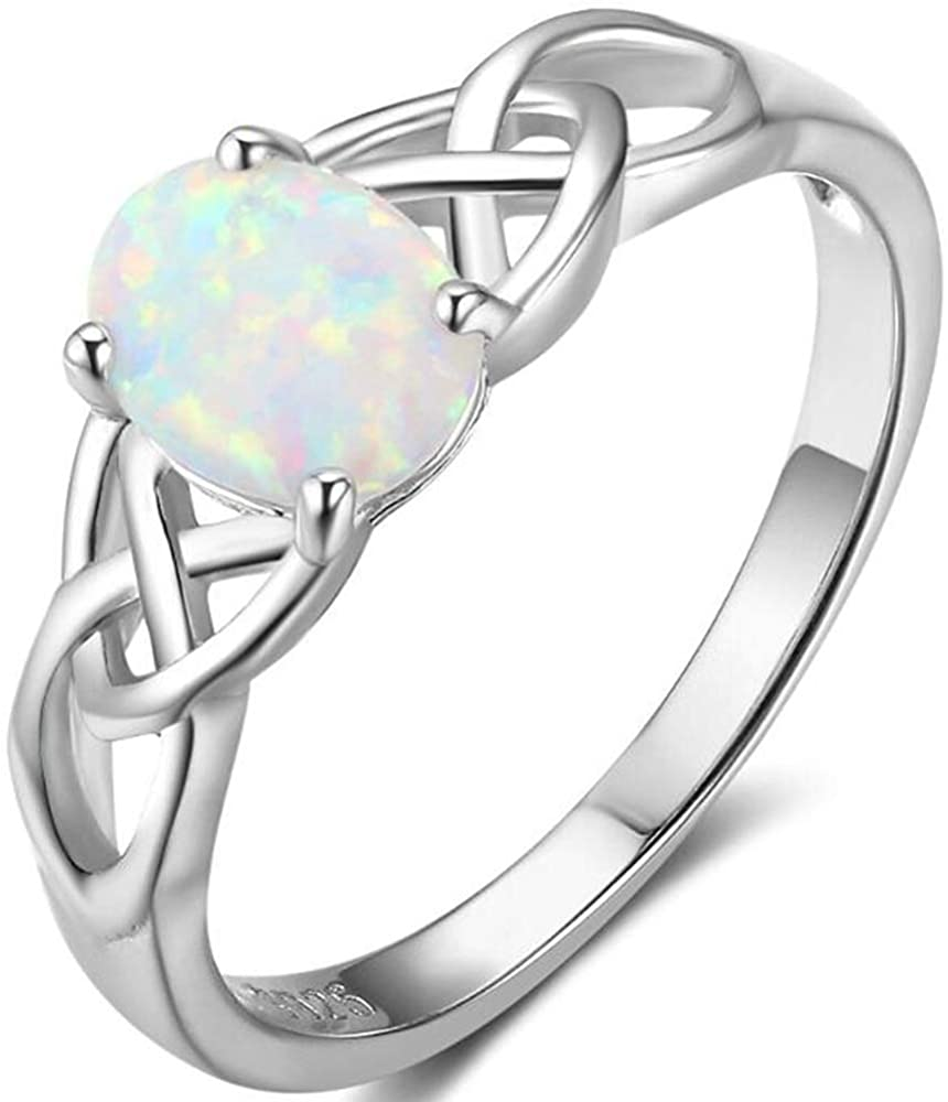 Stainless Steel Celtic Knot Oval Shaped Created Fire Opal Wedding Engagement Anniversary Ring