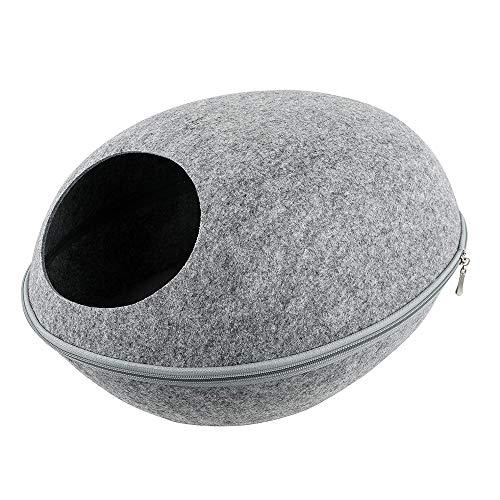 Ritioner vilt kat grot bed met afneembare & inklapbare rits top - grote interieur & ingang werkt voor katten & kleine honden - handgemaakte modern design & vilt, 47 * 40 * 20cm/ 18.50 * 15.75 * 7.87in, Light Gery