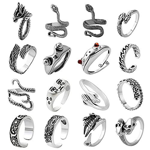 AIDSOTOU Mens Vintage Open Rings Set Frog Snake Skull Cool Punk Goth Ring for Men Women Girls Adjustable (Silver-16 PCS)