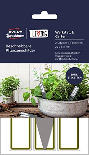 AVERY Zweckform 62029 Living plantenborden (2 borden, 8 etiketten, beschrijfbaar, 27 x 148 mm) grijs/wit