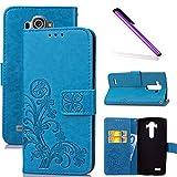 COTDINFOR LG G4 Funda trébol Cierre Magnético Billetera con Tapa para Tarjetas de Cárcasa Elegante Retro Suave PU Cuero Caso Protectora Case para LG G4 Clover Blue SD