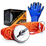 Nolla Magnets Fishing Magnet Kit - Magnetic Fishing Kit with a 500lb Neodymium Powerful Big Magnet Steel Carabiner 65-Foot Nylon Rope & Gloves - an Adventure for Underwater Treasure.