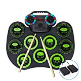 Electronic Drum Set,Fverey Portable Drum Bluetooth Practice Drum Pad,Rechargeable Midi Drum Kit with Built-in Dual Speakers and Headphone Jack for Beginner and Child