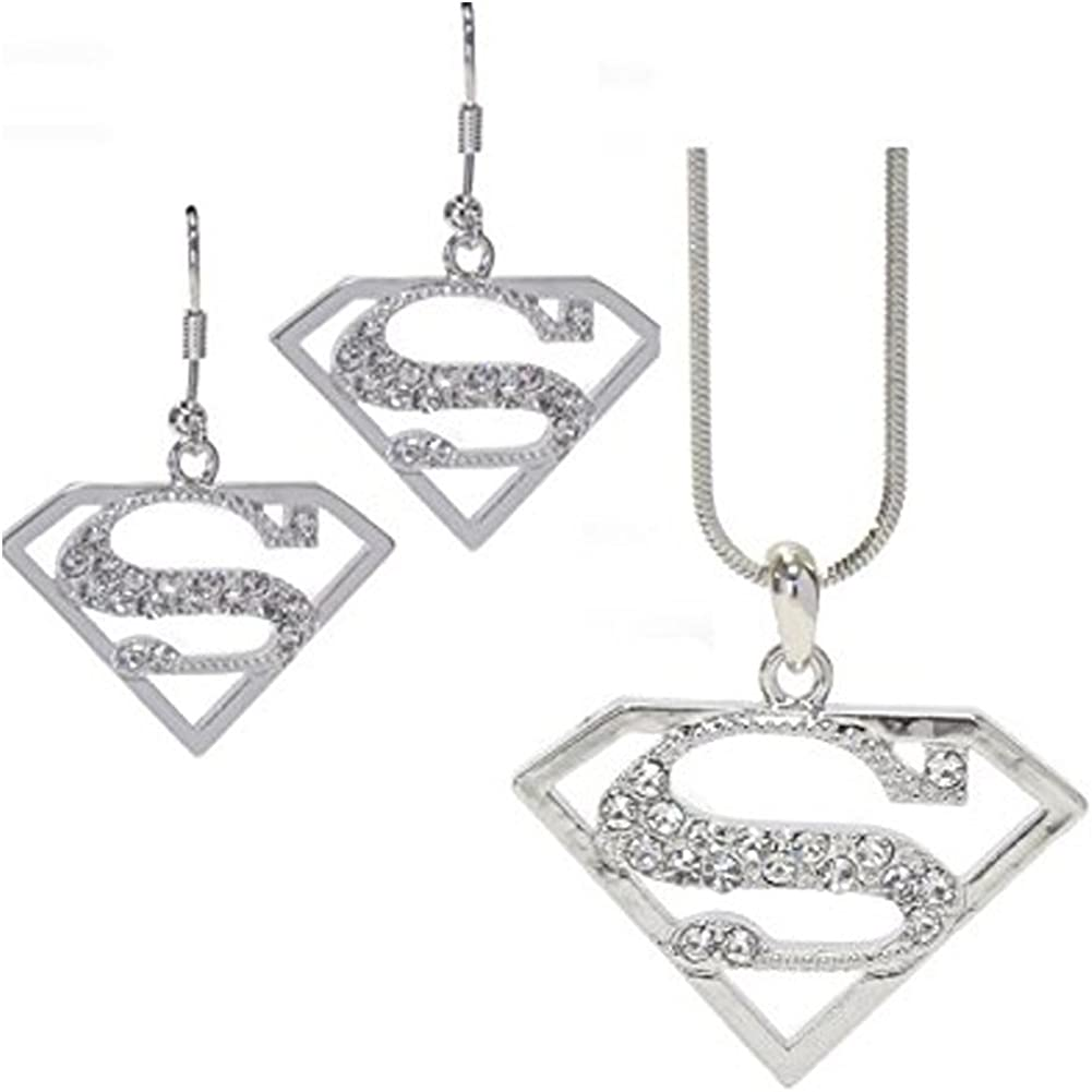 Fashion Jewelry ~ Superman S Necklace and Earrings Jewelry Set (E1237SL)