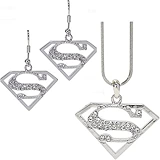 V G S Eternity Fashions Fashion Jewelry ~ Superman Necklace and Earrings Jewelry Set (E1237SL)