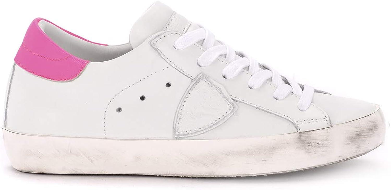 PHILIPPE MODEL Woman's Paris White and Flu Fuchsia Leather Sneaker