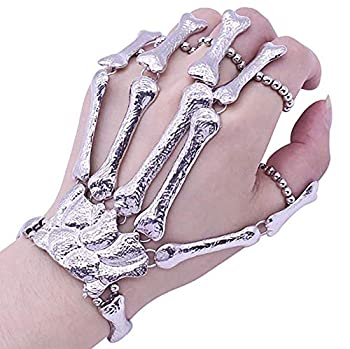 Deniferymakeup Exaggerate Metal Skeleton Bracelet Halloween Accessories Ghost Claw Ornaments Gothic Finger Skeleton Bracelet Flexible to Wear for Your Halloween Cosplay Costume  Silver