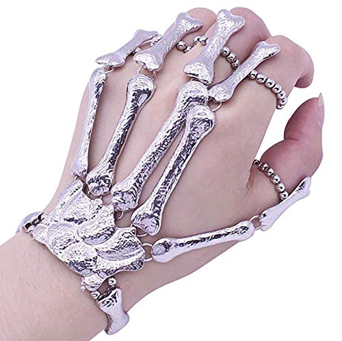 Deniferymakeup Exaggerate Metal Skeleton Bracelet Halloween Accessories Ghost Claw Ornaments Gothic Finger Skeleton Bracelet Flexible to Wear for Your Halloween Cosplay Costume (Silver)
