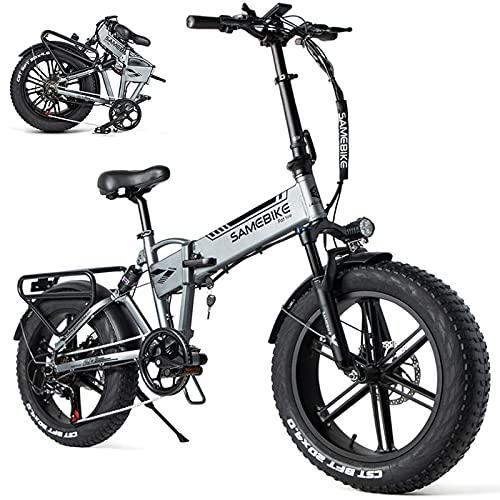 Auto parts Bicicleta Eléctrica Plegable Potente Ebike 500W 35km/h Ruedas Anchas 20 x 4'' Bateria Removible 48V 10AH Shimano 7 Velocidades Bici de Montaña/Carretera/Playa/Nieve para Adultos,Black