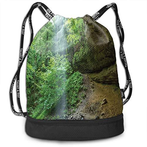 DPASIi Mochilas con cordón, diseño de canyon Michigan Caves Memorial Falls In The Forest Eco Follage Image, cierre de cuerda ajustable