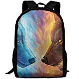 Portable Outdoor Sports Travel Backpack Cool Fire Ice Wolf Large Capacity School Bookbag for Laptop/Books/Umbrella/Snacks/Headphones/Mobile Powel/Clothes