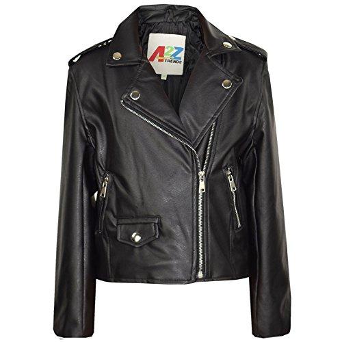 A2Z 4 Kinder Mädchen JACKEN - PU Leather JACKE 460 Schwarz 11-12
