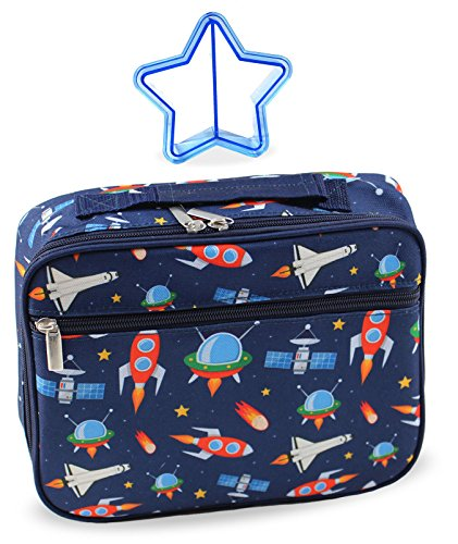 Keeli Kids Insulated Lunch Box Outer Space Rocket Ships for Preschool Kindergarten Boys and Girls with Star Sandwich Cutter in Dark Blue Spaceships
