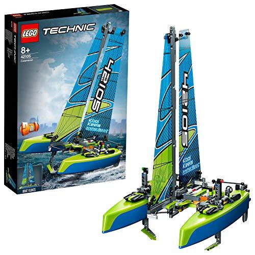 LEGO 42105 Technic Katamaran, 2-in-1 Bauset, Motorboot, schwimmendes Spielzeug