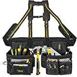 Bravex Tool Belt Suspenders - Tool Vest Ultra Anti-wear 20 Bags Y-Style Tool Belts 5 Combo Apron Tool Pouch For Framers Carpenter Electrician 1200D Ballistic Nylon