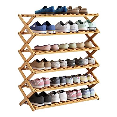 FOLA Zapatero Tallero de Zapatos de bambú, instalación Libre Plegable Estante de zapatería Organizador de Almacenamiento de Zapatos para Entrada/casa/Sala de Estar/balcón Zapatera