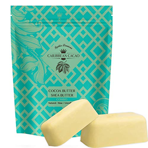 Unrefined Shea Butter Cocoa Butter - 1 LB Bar Each - Ivory Shea Butter and Raw Cocoa Butter, Hydrating Combo. Great for DIY face and body lotions, cre