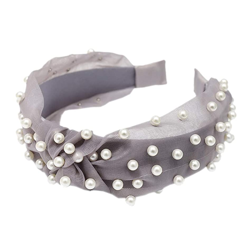 lightclub Solid Color Colorful Candy Color Summer Wide Band Sweet Women Faux Pearl Beading Twist Knotted Mesh Hair Hoop Headband Headwear Grey