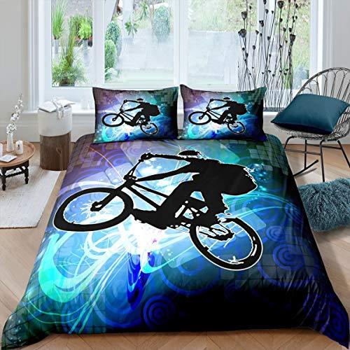 Loussiesd Kinder Teenager Bettwäsche Set Fahrrad Dirt Bike Muster Bettbezug Set Extremsportdesign Betten Set für Kinder Mädchen Jungen Dekorative Modern Cool 2-teilige Bettwäsche 135x200cm