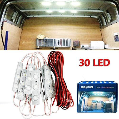 10 módulos de luces Ambother de 30 LED blancos de 12 V para interior de furgoneta con lente de proyección
