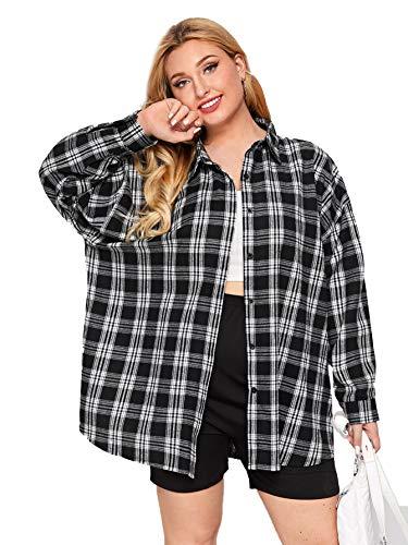 SheIn Women's Plus Drop Shoulder Curved Hem Overshirt Button Down Plaid Shirt Blouse Tops Black XX-Large Plus