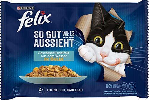 FELIX So gut wie es aussieht Katzenfutter nass in Gelee, mit Thunfisch & Kabeljau, 12er Pack (12 x 4 Beutel à 85g)