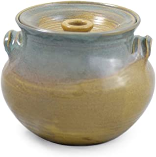 American Made Stoneware 2.25-Quart Bean Pot, Sea Oats Glaze