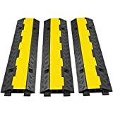 Happybuy 3 Pack of 2 11000lbs per Axle Capacity Protective Wire Cord Ramp Driveway Rubber Traffic Speed Bumps Cable Protector (2-Channel, 3Pack)