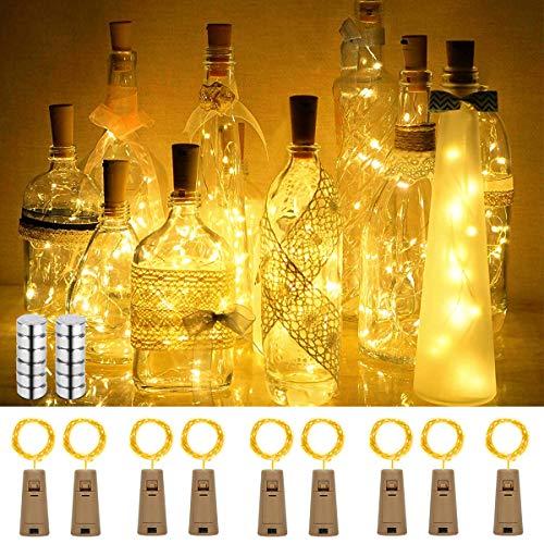 SanGlory 9 Stück 2M 20 LEDs Flaschen-Licht, Warmweiß Flaschenlicht Weinflasche Lichterkette Kork Flaschen Lichter LED Lichterketten für Flasche, Batteriebetriebene für Flasche DIY, Dekor, Weihnachten